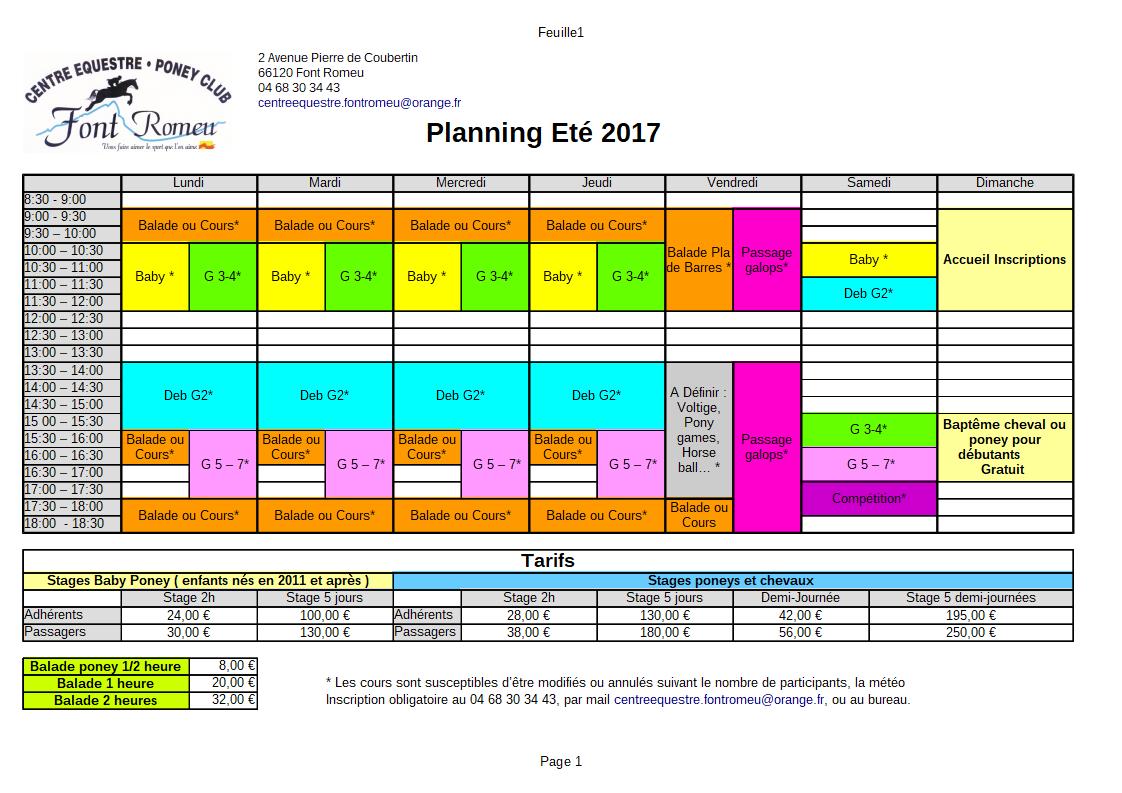 Planning été 2017